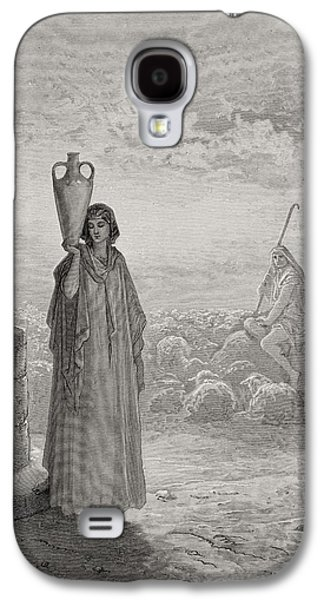 Religious Drawings Galaxy S4 Cases - Jacob Keeping Labans Flock Galaxy S4 Case by Gustave Dore