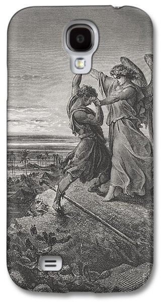 Best Sellers -  - Religious Drawings Galaxy S4 Cases - Jacob Wrestling with the Angel Galaxy S4 Case by Gustave Dore