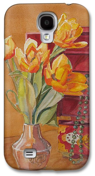 Floral Still Life Paintings Galaxy S4 Cases - Jade and Tulips Galaxy S4 Case by Jenny Armitage