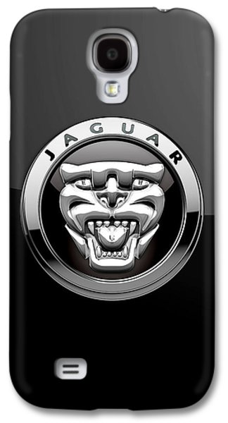 Crest Digital Art Galaxy S4 Cases - Jaguar - 3D Badge on Black Galaxy S4 Case by Serge Averbukh