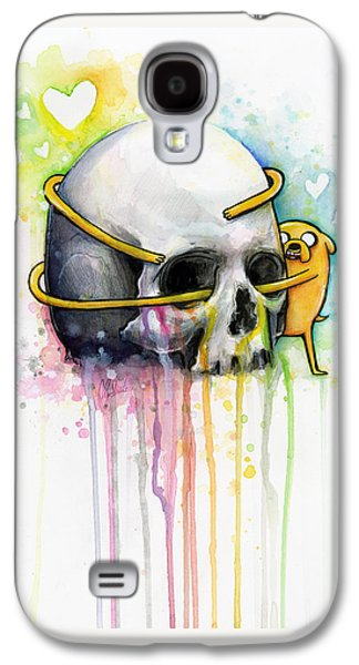 Dogs Mixed Media Galaxy S4 Cases - Jake the Dog Hugging Skull Adventure Time Art Galaxy S4 Case by Olga Shvartsur