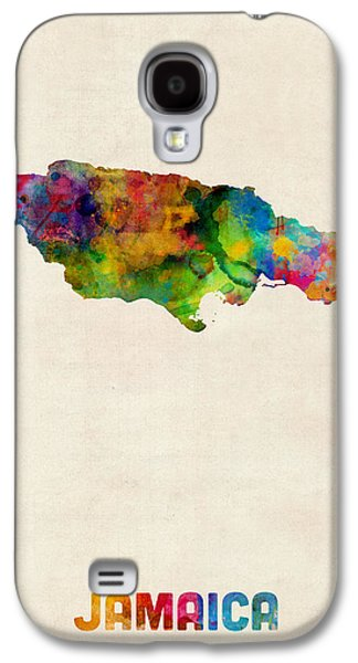 Jamaican Galaxy S4 Cases - Jamaica Watercolor Map Galaxy S4 Case by Michael Tompsett