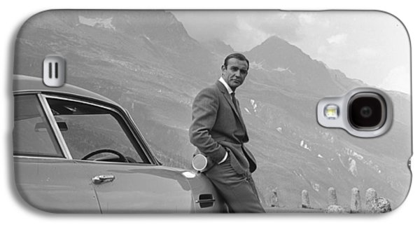 Black And White Art Galaxy S4 Cases - James Bond and his Aston Martin Galaxy S4 Case by Nomad Art And  Design