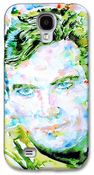 Enterprise Paintings Galaxy S4 Cases - JAMES T. KIRK - watercolor portrait Galaxy S4 Case by Fabrizio Cassetta