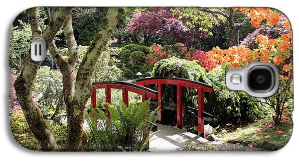 Garden Photographs Galaxy S4 Cases - Japanese Garden Bridge with Rhododendrons Galaxy S4 Case by Carol Groenen