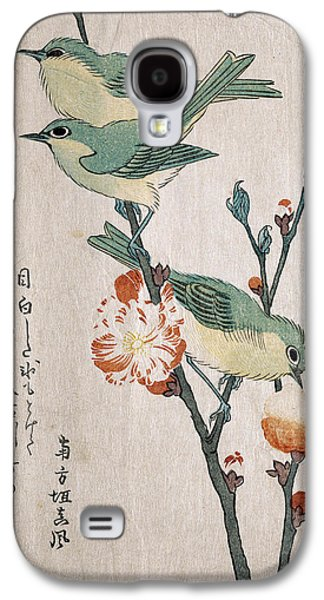 Peaches Drawings Galaxy S4 Cases - Japanese White-eyes Perching on a Branch of Peach Tree Galaxy S4 Case by Kubo Shunman