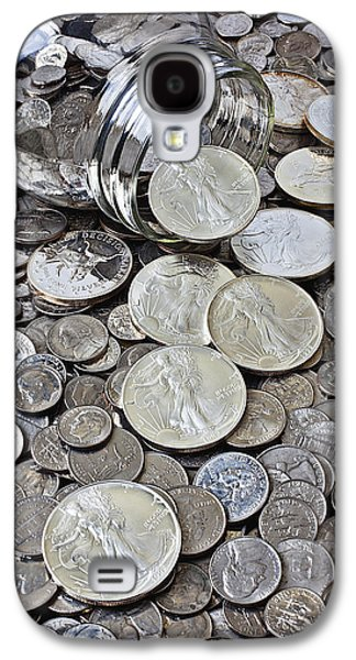 Coins Photographs Galaxy S4 Cases - Jar spilling silver coins Galaxy S4 Case by Garry Gay