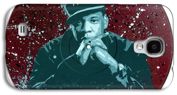 Jay Z Paintings Galaxy S4 Cases - Jay-Z Stencil Art on an upcycled vinyl record Galaxy S4 Case by Tim Kravel