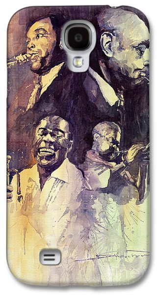 Legend Paintings Galaxy S4 Cases - Jazz Legends Parker Gillespie Armstrong  Galaxy S4 Case by Yuriy  Shevchuk