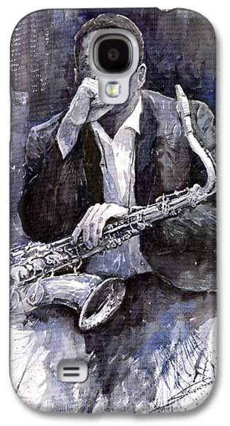 Jazz Galaxy S4 Cases - Jazz Saxophonist John Coltrane black Galaxy S4 Case by Yuriy  Shevchuk