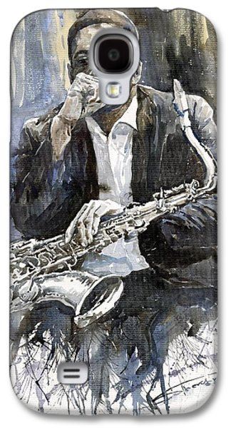 Jazz Galaxy S4 Cases - Jazz Saxophonist John Coltrane yellow Galaxy S4 Case by Yuriy  Shevchuk