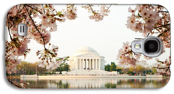 Cherry Blossoms Galaxy S4 Cases - Jefferson Memorial With Reflection and Cherry Blossoms Galaxy S4 Case by Susan  Schmitz