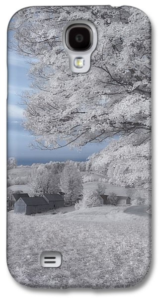 Red Barn In Winter Photographs Galaxy S4 Cases - Jenne Farm Vermont in Infrared Galaxy S4 Case by Joann Vitali