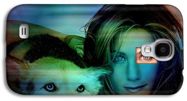 Dog Galaxy S4 Cases - Jennifer Aniston and Dog  Galaxy S4 Case by Marvin Blaine
