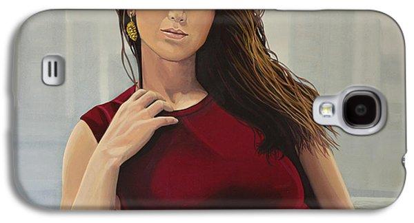 Globe Paintings Galaxy S4 Cases - Jennifer Lawrence Galaxy S4 Case by Paul  Meijering