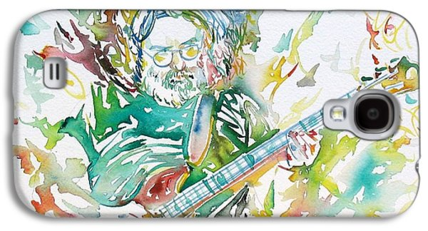Image Paintings Galaxy S4 Cases - JERRY GARCIA PLAYING the GUITAR watercolor portrait.1 Galaxy S4 Case by Fabrizio Cassetta
