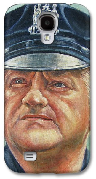 Law Enforcement Paintings Galaxy S4 Cases - Jersey City Policeman Galaxy S4 Case by Melinda Saminski