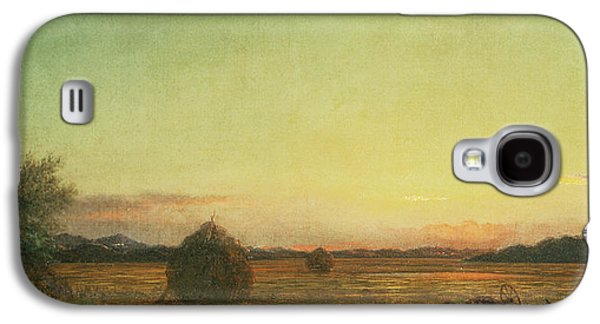 Hay Paintings Galaxy S4 Cases - Jersey Meadows Galaxy S4 Case by Martin Johnson Heade
