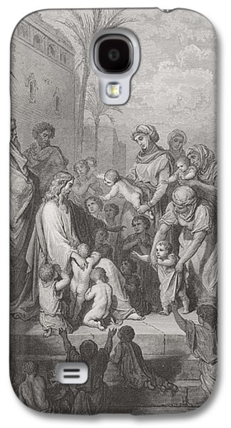 Religious Drawings Galaxy S4 Cases - Jesus Blessing the Children Galaxy S4 Case by Gustave Dore