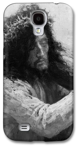 Best Sellers -  - Religious Drawings Galaxy S4 Cases - Jesus carrying the cross circa 1898  Galaxy S4 Case by Aged Pixel