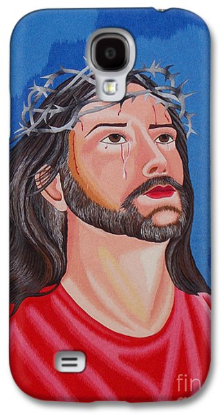 Jesus Tapestries - Textiles Galaxy S4 Cases - Jesus hand embroidery Galaxy S4 Case by To-Tam Gerwe