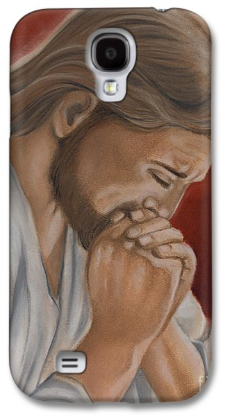 Jesus Pastels Galaxy S4 Cases - Jesus Prays Galaxy S4 Case by Xiomara Aleksic
