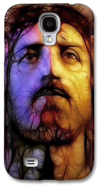 Ray Downing Galaxy S4 Cases - Jesus - Stained Glass Galaxy S4 Case by Ray Downing