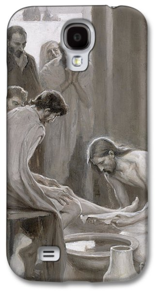 Holy Galaxy S4 Cases - Jesus Washing the Feet of his Disciples Galaxy S4 Case by Albert Gustaf Aristides Edelfelt