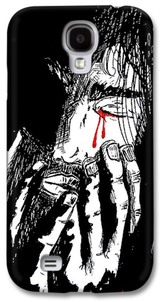 Weeping Drawings Galaxy S4 Cases - Jesus Wept Red Tears Galaxy S4 Case by Justin Moore