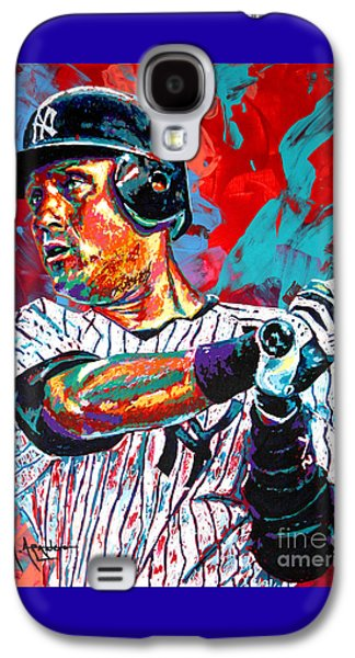 Athletes Paintings Galaxy S4 Cases - Jeter at Bat Galaxy S4 Case by Maria Arango