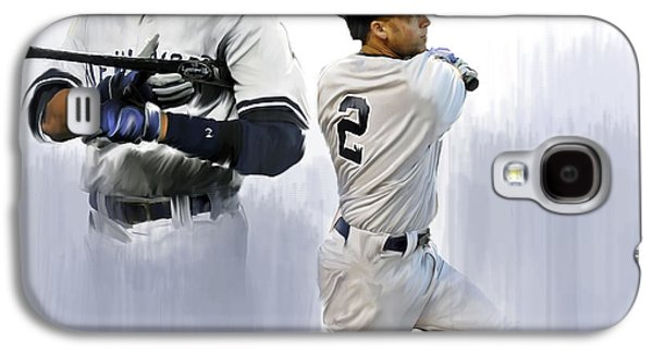 Street Drawings Galaxy S4 Cases - Jeter Derek Jeter Galaxy S4 Case by Iconic Images Art Gallery David Pucciarelli