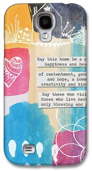 Circle Galaxy S4 Cases - Jewish Home Blessing -Greeting Cards and Prints Galaxy S4 Case by Linda Woods