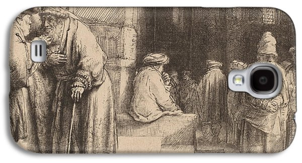 Religious Drawings Galaxy S4 Cases - Jews in the Synagogue Galaxy S4 Case by Rembrandt