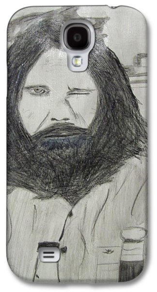 Photo Manipulation Drawings Galaxy S4 Cases - Jim Morrison Pencil Galaxy S4 Case by Jimi Bush