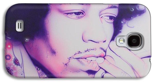 Jimi Hendrix Paintings Galaxy S4 Cases - Jimi Galaxy S4 Case by Christian Chapman