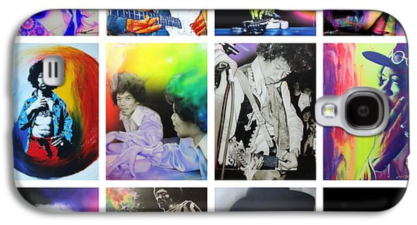 Jimi Hendrix Paintings Galaxy S4 Cases - Jimi Collage Galaxy S4 Case by Christian Chapman Art