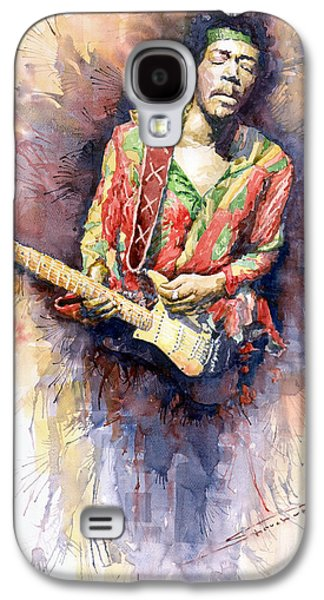 Watercolor Paintings Galaxy S4 Cases - Jimi Hendrix 09 Galaxy S4 Case by Yuriy  Shevchuk