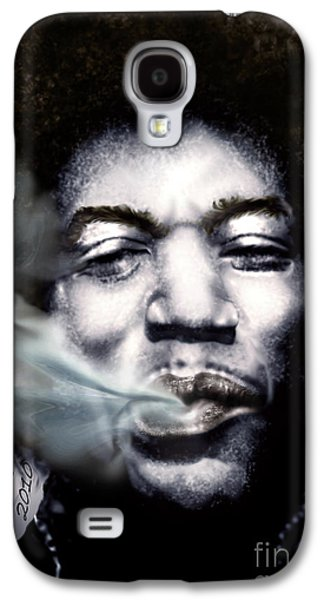 Americans Galaxy S4 Cases - Jimi Hendrix-Burning Lights-2 Galaxy S4 Case by Reggie Duffie