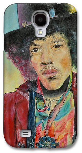 Music Pastels Galaxy S4 Cases - Jimi Hendrix Galaxy S4 Case by Paula Sharlea