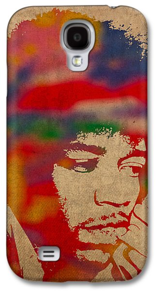 Jimi Hendrix Galaxy S4 Cases - Jimi Hendrix Watercolor Portrait on Worn Distressed Canvas Galaxy S4 Case by Design Turnpike