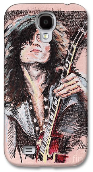 Celebrities Pastels Galaxy S4 Cases - Jimmy Page Galaxy S4 Case by Melanie D