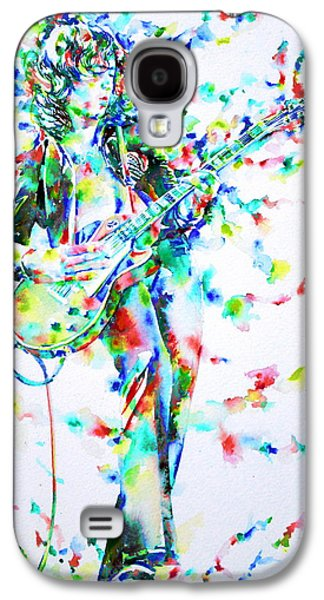 Led Zeppelin Paintings Galaxy S4 Cases - JIMMY PAGE PLAYING THE GUITAR - watercolor portrait Galaxy S4 Case by Fabrizio Cassetta
