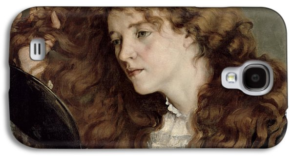 A Hand Mirror Paintings Galaxy S4 Cases - Jo the Beautiful Irish Girl Galaxy S4 Case by Gustave Courbet