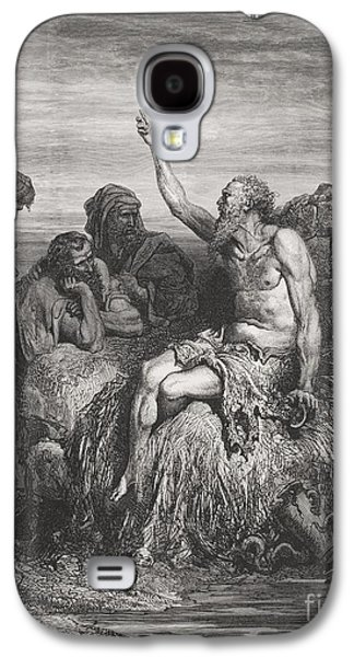 Religious Drawings Galaxy S4 Cases - Job and his Friends Galaxy S4 Case by Gustave Dore