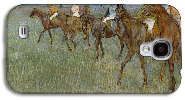 Jockeys Galaxy S4 Cases - Jockeys In The Rain, C.1886 Galaxy S4 Case by Edgar Degas
