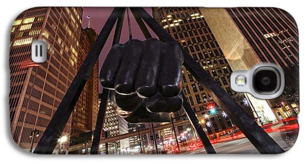 Boxer Digital Art Galaxy S4 Cases - Joe Louis Fist Statue Detroit Michigan Night Time Shot Galaxy S4 Case by Gordon Dean II