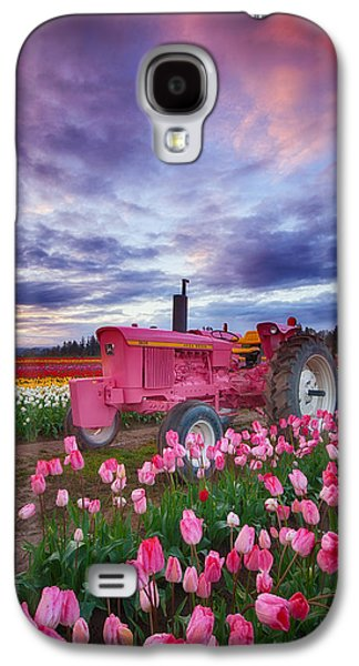 Tractor Prints Galaxy S4 Cases - John Deere Pink Galaxy S4 Case by Darren  White