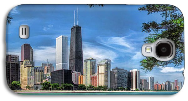 Chicago Paintings Galaxy S4 Cases - John Hancock Chicago Skyline Panorama Galaxy S4 Case by Christopher Arndt