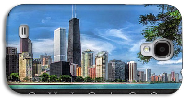 Chicago Paintings Galaxy S4 Cases - John Hancock Chicago Skyline Panorama Poster Galaxy S4 Case by Christopher Arndt
