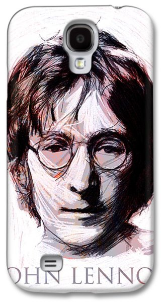 Beatles Drawings Galaxy S4 Cases - John Lennon Color Galaxy S4 Case by Stefan Kuhn